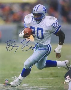 dc9c47a1c6a Barry Sanders Signed 16x20 Detroit Lions White Jersey Photo JSA+SI COA.  White JerseyNfl FootballFootball ...