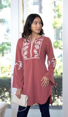 7550cb94aa5ca Stylish Rose Pink Embroidered Modest Tunic | Muslim Clothing | Artizara –  ARTIZARA.COM