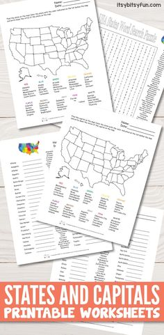 Awesome States and Capitals Worksheets freeprintables worksheetsforkids from States and Capitals Worksheets Us Geography, Geography Worksheets, Homeschool Worksheets, Social Studies Worksheets, Teaching Geography, Teaching Social Studies, Social Studies Activities, Worksheets For Kids, 5th Grade Worksheets