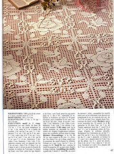 Rose filet work crochet bedspread with diagrams