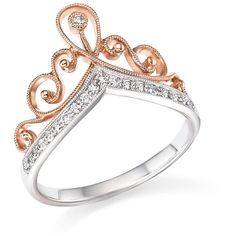 Diamond Crown Ring in 14K White and Rose Gold, .15 ct. t.w. - 100% Exclusive Rose Gold Crown Ring, Diamond Crown Ring, Pink Gold Rings, Rose Gold Diamond Ring, Rose Gold Jewelry, Diamond Jewelry, Jewelry Rings, Pink White, Aud