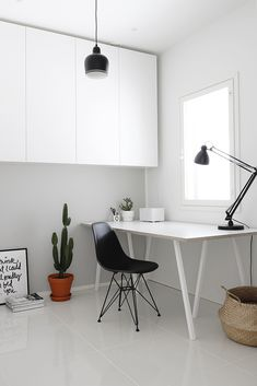 Minimalist home office with lots of covered storage. Bedroom Desk, Home Office Decor, Home Decor, New Room, Minimalist Home, Furniture Decor, Sweet Home, Gallery Walls, Interior Design