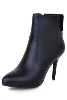 Fashion Paneled PU Pointed-Toe Ankle Booties