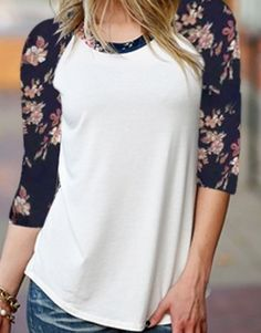 FLORAL BASEBALL TEE White thin polyester stretch bodice with floral sleeves. Floral pattern is dark navy/black with blue and pink flowers. The pattern is like the smaller flowers in the second picture. Juniors sizing No modeling. Look Fashion, Fashion Outfits, Womens Fashion, Diy Clothes, Clothes For Women, Autumn T Shirts, Casual Outfits, Cute Outfits, Floral Sleeve