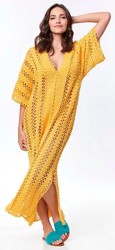 Material Utilizado: Fio Bella 8 nov. (150g) na cor Ipê (204) Agulha para crochê Pingouin de 1,75 mm Veja outras receitas sobre Kaftan de Crochê que vão te inspirar ainda mais. Tensão do ponto: 10 cm x 10 cm em p. fantasia = 22 p. x 10 carr. Tamanho: 38 Dica: Você pode adaptar esse