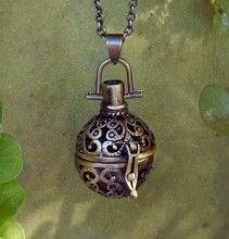 Medieval Amber Resin Pendant Locket Necklace