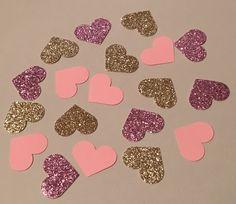 225 Heart Confetti Pink Confetti Glitter by JBPartyCreations