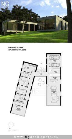 Moderne Villa Sand von NG Architekten entworfen - Benjamin - - Pin for you - Modern House Plans, Small House Plans, Modern House Design, House Floor Plans, Building A Container Home, Container House Plans, Container House Design, Container Pool, Shipping Container Swimming Pool