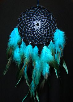 Blue ombre dream catcher with dyed rooster by MyNaturalMysticShop