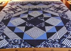 Masculine striped quilt on Craftsy