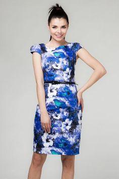 Depare Blue Floral Belted Pencil Dress