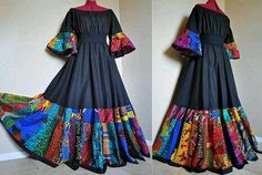 Dance With the Night - Long Unique African Dress, Black Dress with Bright African Patchwork, Ooak Boho Patchwork Dress, Ideal for L to African Print Dresses, African Print Fashion, African Fashion Dresses, African Dress, African Attire, African Wear, African Women, Bohemian Gown, Neckline Designs