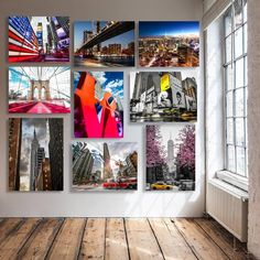 Fill your wall with many small artworks. Images of New York City. New York, Light And Shadow, Beautiful Interiors, Photo Wall, House Design, Australia, Colours, Frame, Artworks