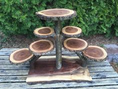 Large Log Black Walnut Wood Rustic Cake 90 Cupcakes Pie Stand Wedding party shower wooden 7 tiered Collapsible