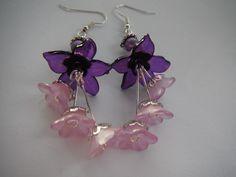 Earrings Blossom Cascade in Purple £7.00