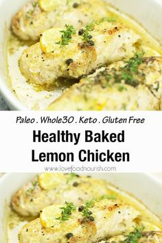 Baked lemon chicken is an easy, healthy dinner that is full of flavour! The chicken is infused with the simple flavours of lemon, garlic, capers and fresh herbs. This easy chicken dinner is Paleo, Keto, Whole30 and Gluten Free. #lemonchicken #lemonchickenpiccata #paleochickenrecipe #paleochicken #whole30chicken #whole30recipes #ketorecipes #ketochicken Chicken Breast Recipes Healthy, Baked Chicken Breast, Healthy Chicken, Keto Chicken, Chicken Breasts, Clean Eating Breakfast, Clean Eating Meal Plan, Clean Eating Recipes, Lemon Chicken Piccata
