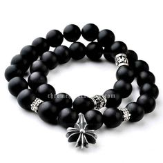 Mens Chrome Hearts 925 Silver Bian-stone Bracelet with Signature Cross [Chrome Hearts Bracelets] - $258.00 : Eyewear,Accessary and Clothing Sell at Chrome Hearts trade