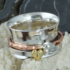 HOT SELLING 925 STERLING SILVER Moonstone Spinner RING 7.39g R9680 SZ-7 #Handmade #Ring
