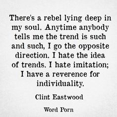 #individuality and being authentic are so rare. I often find that I like weird things and HATE going with the crowd. When things become massively popular they really begin to lose their appeal to me.