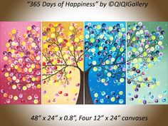 Art painting Abstract acrylic Painting Impasto by QiQiGallery