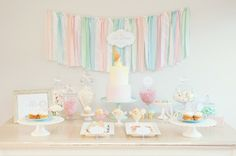 Pastel Ice Cream Social via Kara's Party Ideas | Cake, decor, cupcakes, games and more! KarasPartyIdeas.com #icecreamsocial #iceceamparty #neighborhoodsocial #partyplanning #partyideas #partydecor