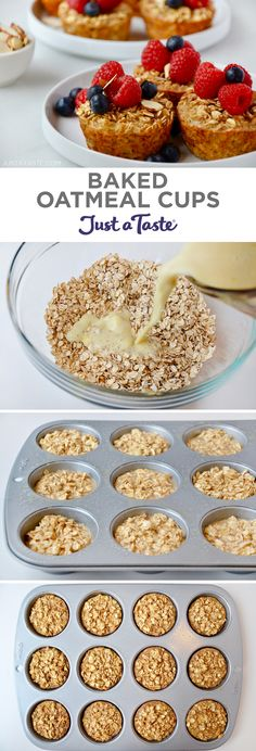 Baked oatmeal cups - Make a healthy, hearty morning meal a total breeze with this freezerfriendly recipe for Baked Oatmeal Cups justataste com recipes healthy meals resolution food healthyrecipes mealprep Healthy Oatmeal Recipes, Healthy Muffins, Healthy Breakfast Recipes, Healthy Baking, Brunch Recipes, Healthy Snacks, Healthy Brunch, Healthy Morning Breakfast, Oatmeal Breakfast Recipes