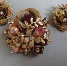 Vintage Early Haskell Brooch and Earrings
