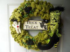 Spooky Halloween green burlap Door or Wall by ChloesCraftCloset, $47.00