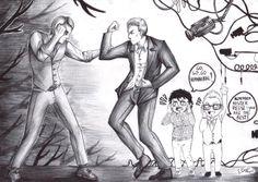 Hannibal Lecter vs John Reese (bw) by FuriarossaAndMimma.deviantart.com on @deviantART