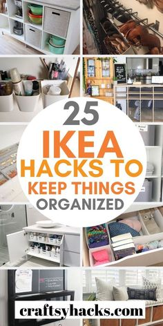 Use these IKEA projects to organize home on a low budget. These IKEA hacks are fun to try and you can use them to organize every room in the house. Ikea Organization Hacks, Small Space Organization, Home Organization Hacks, Storage Hacks, Organizing Your Home, Ikea Hacks, Diy Storage, Ikea Kitchen Storage, Kitchen Hacks