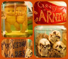 LOVE these jars. we could do like...grapes as eyeballs, cauliflower as brains type deal