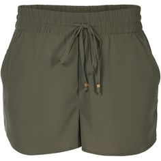 ONLY Loose Shorts (£12) ❤ liked on Polyvore featuring shorts, dusty olive, loose fitting shorts, tall shorts, loose fit shorts, army green shorts and tie-dye shorts