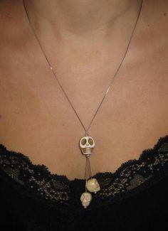 Collana in argento e Howlite www.facebook.com/VioletArtBijoux