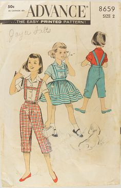 1950s Girls blouse Suspender skirt Suspender pants by knightcloth