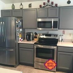 Custom Gray Kitchen Cabinets with a mix of GF Driftwood and Seagull Gray Milk Paints | Restyle Junkie ~ http://www.restylejunkie.com/