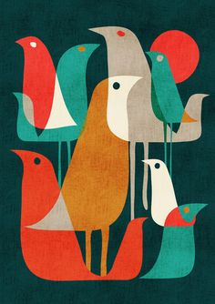 Flock of Birds Art Print by Budi Satria Kwan couleur Art And Illustration, Vogel Illustration, Illustrations, Retro Kunst, Retro Art, Retro Color, Modern Retro, Midcentury Modern, Midcentury Artwork