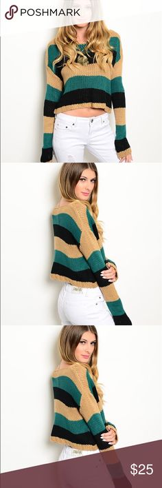Striped Crop Sweater LOVE THIS SWEATER!! It is so cozy and still stylish with the crop top size. I wear it off-the shoulder. Sweaters