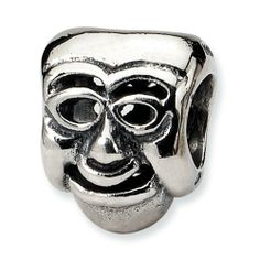 Sterling Silver Reflections Comedy Mask Bead goldia. $22.67