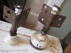 Shabby Angels With Vintage Doorknob Bases and Rusty Hinge Wings & Bodies