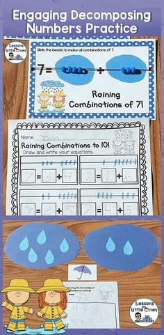 Ideas for making decomposing numbers practice (common core standard K.OA.A.3) engaging and fun for students. https://lessons4littleones.com/2015/04/06/decomposing-numbers-3-10-center-activity-practice-assessment-pages/