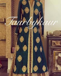 The design and colors/textiles of this Taur by Kaur lacha style ensemble are so regal! I especially like the jacket style of the top, which pairs so nicely with this gold sequins lehnga skirt, but can also be easily paired with a pajami for a slightly simpler look.