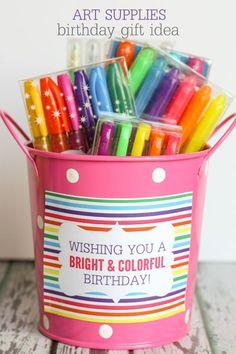 CUTE Art Supplies Birthday Gift Idea with Free Prints { lilluna.com }