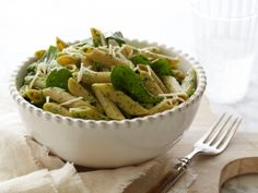 Penne with Spinach Sauce-maybe substitute mozzarella for goat cheese & cream cheese