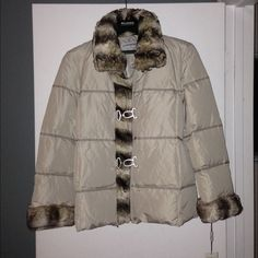 Hilary Radley down winter coat Hilary Radley creme colored down filled winter coat. Faux fur around collar and cuffs. Hilary Radley Jackets & Coats Puffers