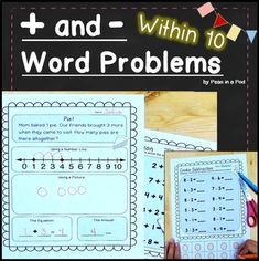 This addition and subtraction word problem resource contains 16 worksheets to help students practice story problems to 10. The first 5 have students use a number line, draw pictures, and write equations to solve a addition word problem.