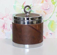 Small Vintage Leather Look Ice Bucket