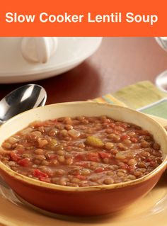 Slow Cooker Lentil Soup… Toss tomatoes, lentils, onion, celery, vegetable broth, and bay leaves into a slow cooker and let it cook to perfection. After, you will have a hearty vegetarian meal.