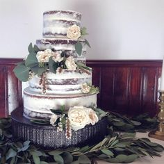 Semi naked chocolate cake with roses from the Handmade Cake Company
