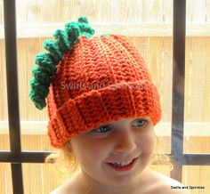 Swirls and Sprinkles: Free Easy Crochet Pumpkin Hat.  Size Toddler/Child