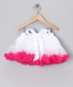 Take a look at this White & Hot Pink Bow Pettiskirt - Infant, Toddler & Girls by Twirls & Curls on #zulily today!